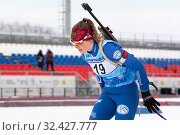 Купить «Sportswoman biathlete Evgenia Dolzhenkova (Kamchatka Territory) skiing on distance biathlon complex», фото № 32427777, снято 12 апреля 2019 г. (c) А. А. Пирагис / Фотобанк Лори