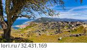 Купить «Celtic village, Santa Tecla mountain, Castro of Santa Trega, A Guarda, Pontevedra, Galicia, Spain», фото № 32431169, снято 24 мая 2019 г. (c) age Fotostock / Фотобанк Лори