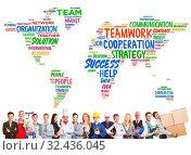 Vielfalt und Zusammenarbeit mit vielen Berufen international vor einer Weltkarte. Стоковое фото, фотограф Zoonar.com/Robert Kneschke / age Fotostock / Фотобанк Лори