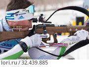 Купить «Close-up view sportsman biathlete Ziganchin Rafael rifle shooting in prone position. Biathlete in shooting range», фото № 32439885, снято 12 апреля 2019 г. (c) А. А. Пирагис / Фотобанк Лори