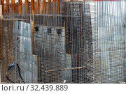 Купить «Frame of reinforcement for pouring concrete on the construction of the tunnel.», фото № 32439889, снято 24 сентября 2016 г. (c) Акиньшин Владимир / Фотобанк Лори