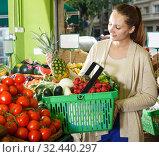 Купить «female who is holding basket in time shopping», фото № 32440297, снято 26 мая 2018 г. (c) Яков Филимонов / Фотобанк Лори