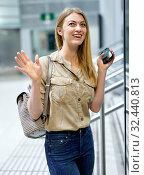 Купить «Attractive girl looking for convenient route on the subway map», фото № 32440813, снято 31 марта 2019 г. (c) Яков Филимонов / Фотобанк Лори