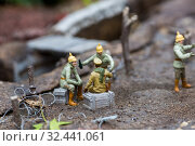 Military at a halt near the trenches, miniature. Стоковое фото, фотограф Tryapitsyn Sergiy / Фотобанк Лори
