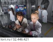 Купить «Children playing in bunker questroom», фото № 32446421, снято 21 октября 2017 г. (c) Яков Филимонов / Фотобанк Лори