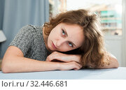 Купить «Portrait of frustrated woman», фото № 32446681, снято 7 декабря 2019 г. (c) Яков Филимонов / Фотобанк Лори