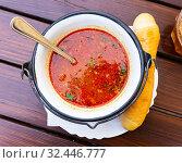 Купить «Bean soup with chili in Mexican style», фото № 32446777, снято 22 января 2020 г. (c) Яков Филимонов / Фотобанк Лори