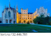 Купить «View on the medieval castle Lednice in evening. South Moravian region. Czech Republic», фото № 32446781, снято 9 декабря 2019 г. (c) Яков Филимонов / Фотобанк Лори