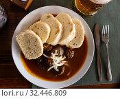Czech dumplings with beef goulash. Стоковое фото, фотограф Яков Филимонов / Фотобанк Лори