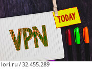 Купить «Handwriting text writing Vpn. Concept meaning Secured virtual private network across confidential domain protected Papers marker pens nice art daily creative work wood colour black shadow», фото № 32455289, снято 11 декабря 2019 г. (c) easy Fotostock / Фотобанк Лори