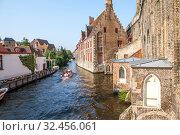 Купить «Старинные кирпичные дома в историческом центре, вдоль канала. Брюгге. Бельгия», фото № 32456061, снято 27 августа 2019 г. (c) Сергей Афанасьев / Фотобанк Лори