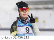 Купить «Portrait of smiles Korean sportswoman biathlete Lee Hyunju (South Korea) in shooting range. Regional youth biathlon competitions East of Cup», фото № 32456213, снято 13 апреля 2019 г. (c) А. А. Пирагис / Фотобанк Лори