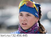 Close-up portrait of Russian sportswoman biathlete Miroshnichenko Maria (2019 год). Редакционное фото, фотограф А. А. Пирагис / Фотобанк Лори