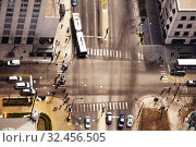 Intersection in Chicago downtown view from above (2018 год). Стоковое фото, фотограф Сергей Новиков / Фотобанк Лори