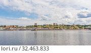 Panorama of the city of Nizhny Novgorod from the river (2019 год). Стоковое фото, фотограф Дмитрий Тищенко / Фотобанк Лори