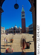 Piazza San Marco with bell tower of St Mark's in Venice (2019 год). Стоковое фото, фотограф Яков Филимонов / Фотобанк Лори