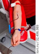 In einem Blutlabor wird beim Blut Spendenblut abgenommen. Стоковое фото, фотограф Zoonar.com/Erwin Wodicka / age Fotostock / Фотобанк Лори