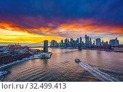 Купить «Brooklyn bridge and Manhattan at sunset», фото № 32499413, снято 10 января 2018 г. (c) Sergey Borisov / Фотобанк Лори