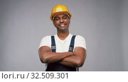Купить «happy indian worker or builder with crossed arms», видеоролик № 32509301, снято 26 ноября 2019 г. (c) Syda Productions / Фотобанк Лори
