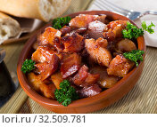 Купить «Morro de cerdo - spanish dish. Roast nose and cheek pigs with parsley», фото № 32509781, снято 9 апреля 2020 г. (c) Яков Филимонов / Фотобанк Лори