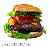 Two juicy hamburgers. Стоковое фото, фотограф Яков Филимонов / Фотобанк Лори