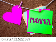 Купить «Word writing text Maximize. Business concept for Increase to the greatest possible amount or degree Make larger Heart thread sticky small cliped string thumb pin dark rough background», фото № 32522589, снято 6 августа 2020 г. (c) easy Fotostock / Фотобанк Лори