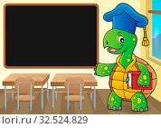 Turtle teacher theme image 2 - picture illustration. Стоковое фото, фотограф Zoonar.com/Klara Viskova / easy Fotostock / Фотобанк Лори