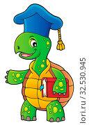 Turtle teacher theme image 1 - picture illustration. Стоковое фото, фотограф Zoonar.com/Klara Viskova / easy Fotostock / Фотобанк Лори