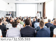 Купить «I have a question. Group of business people sitting in conference hall. Businessman raising his arm. Conference and Presentation. Business and Entrepreneurship», фото № 32535593, снято 30 сентября 2019 г. (c) Matej Kastelic / Фотобанк Лори