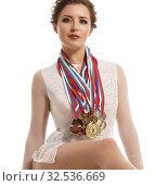 Sport. Successful rhythmic gymnast with medals. Стоковое фото, фотограф Гурьянов Андрей / Фотобанк Лори