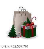Festive composition with Christmas tree, gift bags and boxes with branches and candyes on a white background. Стоковая иллюстрация, иллюстратор Helen Burceva / Фотобанк Лори