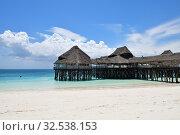 Купить «Beach cafe. Kendwa resort, Zanzibar, Tanzania, Africa», фото № 32538153, снято 3 октября 2019 г. (c) Знаменский Олег / Фотобанк Лори