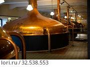 Купить «Tanks for storage and fermentation of beer in beer factory», фото № 32538553, снято 13 декабря 2019 г. (c) Яков Филимонов / Фотобанк Лори