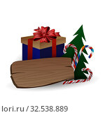 Festive composition with Christmas tree branches in a gift bag and boxes with bows on a white background. Стоковая иллюстрация, иллюстратор Helen Burceva / Фотобанк Лори