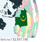 Купить «Mauritania on bright political globe with embedded flag. 3D illustration.», фото № 32551145, снято 8 декабря 2019 г. (c) easy Fotostock / Фотобанк Лори