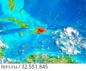 Купить «Dominican Republic highlighted in red on planet Earth. 3D illustration. Elements of this image furnished by NASA.», фото № 32551845, снято 8 декабря 2019 г. (c) easy Fotostock / Фотобанк Лори