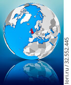 Купить «United Kingdom on globe reflecting on surface. 3D illustration.», фото № 32552445, снято 8 декабря 2019 г. (c) easy Fotostock / Фотобанк Лори