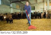 Купить «Male farmer holding agricultural tool», фото № 32555289, снято 15 декабря 2018 г. (c) Яков Филимонов / Фотобанк Лори