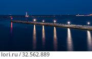 Купить «Night at the seaport in Odessa, Ukraine», фото № 32562889, снято 6 июня 2019 г. (c) Sergii Zarev / Фотобанк Лори