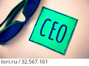 Word writing text Ceo. Business concept for Chief Executive Officer Head Boss Chairperson Chairman Controller Green paper beige background sunglasses ideas messages feelings thoughts. Стоковое фото, фотограф Zoonar.com/Artur Szczybylo / easy Fotostock / Фотобанк Лори