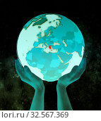 Купить «Greece on shiny blue globe in hands in space. 3D illustration.», фото № 32567369, снято 8 декабря 2019 г. (c) easy Fotostock / Фотобанк Лори