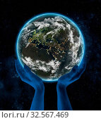 Купить «Lebanon on Earth at night in hands in space. 3D illustration.», фото № 32567469, снято 8 декабря 2019 г. (c) easy Fotostock / Фотобанк Лори