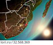 Купить «Swaziland from space with highly detailed surface textures and visible country borders. 3D illustration. Elements of this image furnished by NASA.», фото № 32568369, снято 8 декабря 2019 г. (c) easy Fotostock / Фотобанк Лори