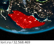 Купить «Saudi Arabia at night highlighted in red on planet Earth with clouds. 3D illustration. Elements of this image furnished by NASA.», фото № 32568469, снято 8 декабря 2019 г. (c) easy Fotostock / Фотобанк Лори