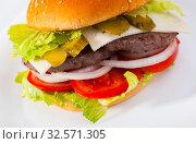 Купить «Double burger», фото № 32571305, снято 4 июля 2020 г. (c) Яков Филимонов / Фотобанк Лори