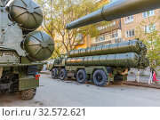 Купить «Russia, Samara, May 2017: S-300 anti-aircraft missile system on a city street prepared for the Victory Day parade on a spring sunny day.», фото № 32572621, снято 7 мая 2017 г. (c) Акиньшин Владимир / Фотобанк Лори