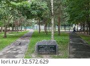 Купить «Знак в память о Владимире Николаевиче Аксенове, посадившим в 1990 году сквер возле дома 36 корпус 2 по Комендантскому проспекту. Санкт-Петербург», эксклюзивное фото № 32572629, снято 12 августа 2019 г. (c) Румянцева Наталия / Фотобанк Лори
