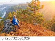 Купить «Panorama of the Ural taiga at dawn. Morning fog. Bashkortostan.», фото № 32580929, снято 9 сентября 2017 г. (c) Акиньшин Владимир / Фотобанк Лори