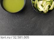 Купить «peeled or sliced zucchini and cream soup in bowl», фото № 32581005, снято 12 апреля 2018 г. (c) Syda Productions / Фотобанк Лори