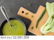 Купить «bok choy chinese cabbage cream soup in bowl», фото № 32581009, снято 12 апреля 2018 г. (c) Syda Productions / Фотобанк Лори